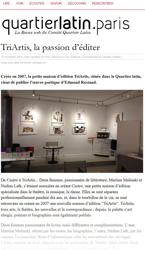 article sur quartierlatin.paris